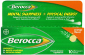 Mental Sharpness + Physical Energy Orange Flavor 10 Effervescent Tabs, Berocca