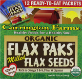 Organic Flax Paks Milled Flax Seeds 12 Packs .4 oz (12 g) Each, Carrington Farms