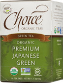 Organic Green Tea Premium Japanese Green 16 Tea Bags 1.1 oz (32 g), Choice Organic Teas