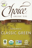 Green Tea Classic Green 16 Tea Bags 1.1 oz (32 g), Choice Organic Teas