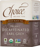 Organic Decaffeinated Earl Grey Decaf Black Tea 16 Tea Bags 1.1 oz (32 g), Choice Organic Teas