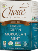 Organic Green Moroccan Mint Green Tea 16 Tea Bags .8 oz (24 g), Choice Organic Teas