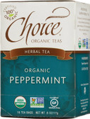 Herbal Tea Organic Peppermint Caffeine-Free 16 Tea Bags .6 oz (17 g), Choice Organic Teas