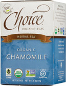 Herbal Tea Organic Chamomile Caffeine-Free 16 Tea Bags .5 oz (14 g), Choice Organic Teas