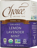 Herbal Tea Organic Lemon Lavender Mint Caffeine-Free 16 Tea Bags .8 oz (24 g), Choice Organic Teas