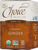 Herbal Tea Organic Ginger Caffeine Free 16 Tea Bags 1.1 oz (32 g), Choice Organic Teas
