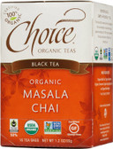 Black Tea Organic Masala Chai 16 Tea Bags 1.2 oz (35 g), Choice Organic Teas