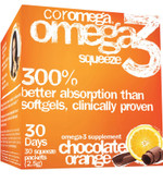 Omega3 Squeeze Chocolate Orange 30 Squeeze Packets 2.5 g Each, Coromega