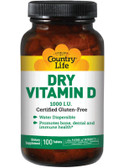 Dry Vitamin D 1000 IU 100 Tabs, Country Life