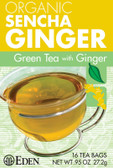 Organic Sencha Ginger Green Tea with Ginger 16 Tea Bags .95 oz (27.2 g), Eden Foods