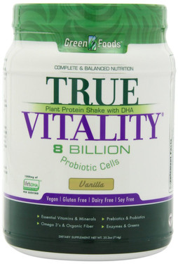 True Vitality Plant Protein Shake with DHA Vanilla 25.2 oz (714 g), Green Foods Corporation