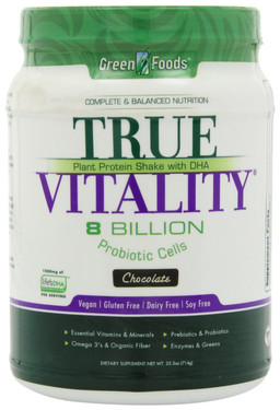 True Vitality Plant Protein Shake with DHA Chocolate 25.2 oz (714 g), Green Foods Corporation