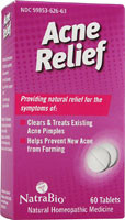 Acne Relief 60 Tabs Natra Bio, Homeopathic