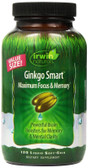 Ginkgo Smart Maximum Focus & Memory 120 Liquid Soft-Gels, Irwin Naturals