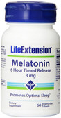 Melatonin 6 Hour Timed Release 3 mg 60 Veggie Tabs, Life Extension