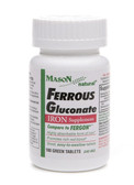 Ferrous Gluconate Iron 100 Green Tabs, Mason Vitamins