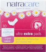 Organic & Natural Ultra Extra Pads Super 10 Pads, Natracare