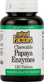 Chewable Papaya Enzymes 120 Tabs, Natural Factors