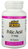 Folic Acid 1000 mg 90 Tabs, Natural Factors