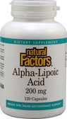Alpha-Lipoic Acid 200mg 120 Caps, Natural Factors