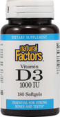 Vitamin D3 1000 IU 180 sGels Natural Factors, Bones