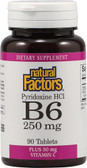 B6 Pyridoxine HCl Plus Vitamin C 250 mg 90 Tabs, Natural Factors