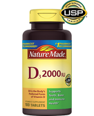 D3 Vitamin D Supplement 2000 IU 100 Tabs, Nature Made