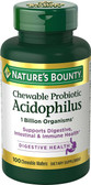 Chewable Probiotic Acidophilus with Lactis Natural Strawberry Flavor 100 Chewable Wafers, Nature's Bounty