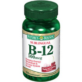 B-12 Sublingual Natural Cherry Flavor 500 mcg 100 Microlozenges, Nature's Bounty