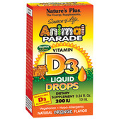Source of Life Animal Parade Vitamin D3 Liquid Drops Natural Orange Flavor 200 IU 0.34 oz (10 ml), Nature's Plus