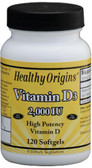 Vitamin D3 2000 IU 120 Softgels, Healthy Origins