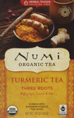 Organic Turmeric Tea Three Roots Caffeine Free 12 Tea Bags 1.42 oz (40.2 g), Numi Tea
