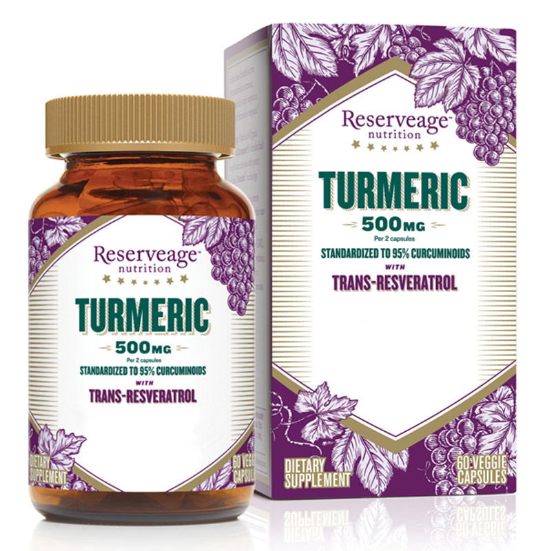 Turmeric With Trans Resveratrol 500 Mg 60 Veggie Caps Reserveage