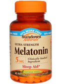 Melatonin Extra Strength 5 mg 90 Tabs, Rexall Sundown Naturals