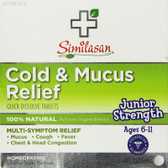 Cold & Mucus Relief Junior Strength 40 Quick Dissolve Tabs, Similasan