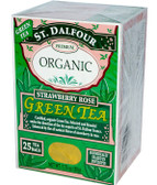 Organic Green Tea Strawberry Rose 25 Tea Bags 1.75 oz (50 g), St. Dalfour