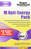 Opti-Energy Pack Multivitamin/Mineral Supplement Iron Free 30 Packets (6 Tabs Each), Super Nutrition