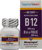 Methylcobalamin B-12 1000 mcg B-6 & Folic Acid 800 mcg MicroLingual 60 Tabs, Superior Source