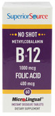 B-12 Methylcobalamin & Folic Acid 1000 mcg/400 mcg 60 MicroLingual Instant Dissolve Tabs, Superior Source