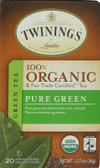 100% Organic Green Tea Pure Green 20 Tea Bags 1.27 oz (36 g), Twinings