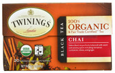 100% Organic Black Tea Chai 20 Tea Bags 1.41 oz (40 g) Twinings