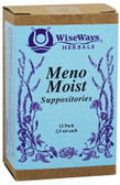 Meno Moist Suppositories 12 Pack 4.5 oz (2.5 ml) Each, WiseWays Herbals