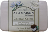 Hand & Body Bar Soap Coconut Cream 8.8 oz (250 g), A La Maison de Provence
