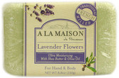 Hand & Body Bar Soap Lavender Flowers 8.8 oz (250 g), A La Maison de Provence