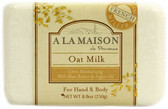 Hand & Body Bar Soap Oat Milk 8.8 oz (250 g), A La Maison de Provence