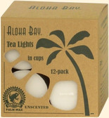 Palm Wax Candles Tea Lights Unscented White 12 Pack, Aloha Bay