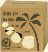 Palm Wax Candles Tea Lights Unscented Cream Color 12 Candles, Aloha Bay