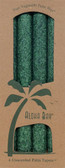 Palm Wax Taper Candles Unscented Green 4 Pack 9 in (23 cm) Each, Aloha Bay
