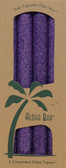 Palm Wax Taper Candles Unscented Violet 4 Pack 9 in (23 cm) Each, Aloha Bay