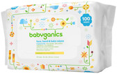 Face Hand & Baby Wipes Fragrance Free 100 Wipes, BabyGanics